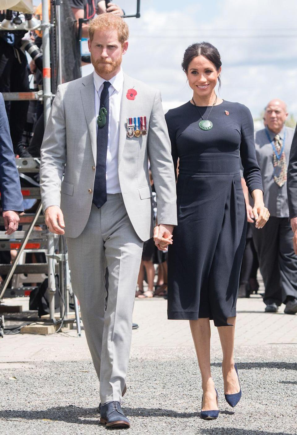 """<p>Meghan <a href=""""https://www.townandcountrymag.com/style/fashion-trends/a24450173/meghan-markle-stella-mccartney-navy-midi-dress-final-day-royal-tour-new-zealand/"""" rel=""""nofollow noopener"""" target=""""_blank"""" data-ylk=""""slk:wore a navy blue midi"""" class=""""link rapid-noclick-resp"""">wore a navy blue midi</a> dress by Stella McCartney to kick off the last day of their royal tour. The Ducehss also wore a pair of Manolo pumps.</p><p><a class=""""link rapid-noclick-resp"""" href=""""https://www.barneys.com/product/manolo-blahnik-bb-pumps-503345489.html"""" rel=""""nofollow noopener"""" target=""""_blank"""" data-ylk=""""slk:SHOP NOW"""">SHOP NOW</a> <em>Manolo Blahnik Pumps, $625</em></p>"""