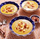 """<p>Have a pot of seasonal soup available for people to serve themselves ahead of the dinner. Top this recipe with diced apple and crumbled bacon for a salty-sweet starter everyone will love. </p><p><a href=""""https://www.thepioneerwoman.com/food-cooking/recipes/a103161/simple-roasted-butternut-squash-soup/"""" rel=""""nofollow noopener"""" target=""""_blank"""" data-ylk=""""slk:Get the recipe."""" class=""""link rapid-noclick-resp""""><strong>Get the recipe.</strong></a></p><p><a class=""""link rapid-noclick-resp"""" href=""""https://go.redirectingat.com?id=74968X1596630&url=https%3A%2F%2Fwww.walmart.com%2Fsearch%3Fq%3Dsoup%2Bladles&sref=https%3A%2F%2Fwww.thepioneerwoman.com%2Ffood-cooking%2Fmeals-menus%2Fg37320750%2Fthanksgiving-appetizers%2F"""" rel=""""nofollow noopener"""" target=""""_blank"""" data-ylk=""""slk:SHOP SOUP LADLES"""">SHOP SOUP LADLES</a></p>"""