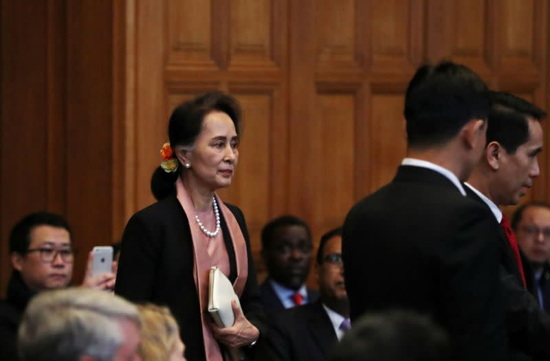 Myanmar's leader Aung San Suu Kyi arrives at the International Court of Justice in The Hague