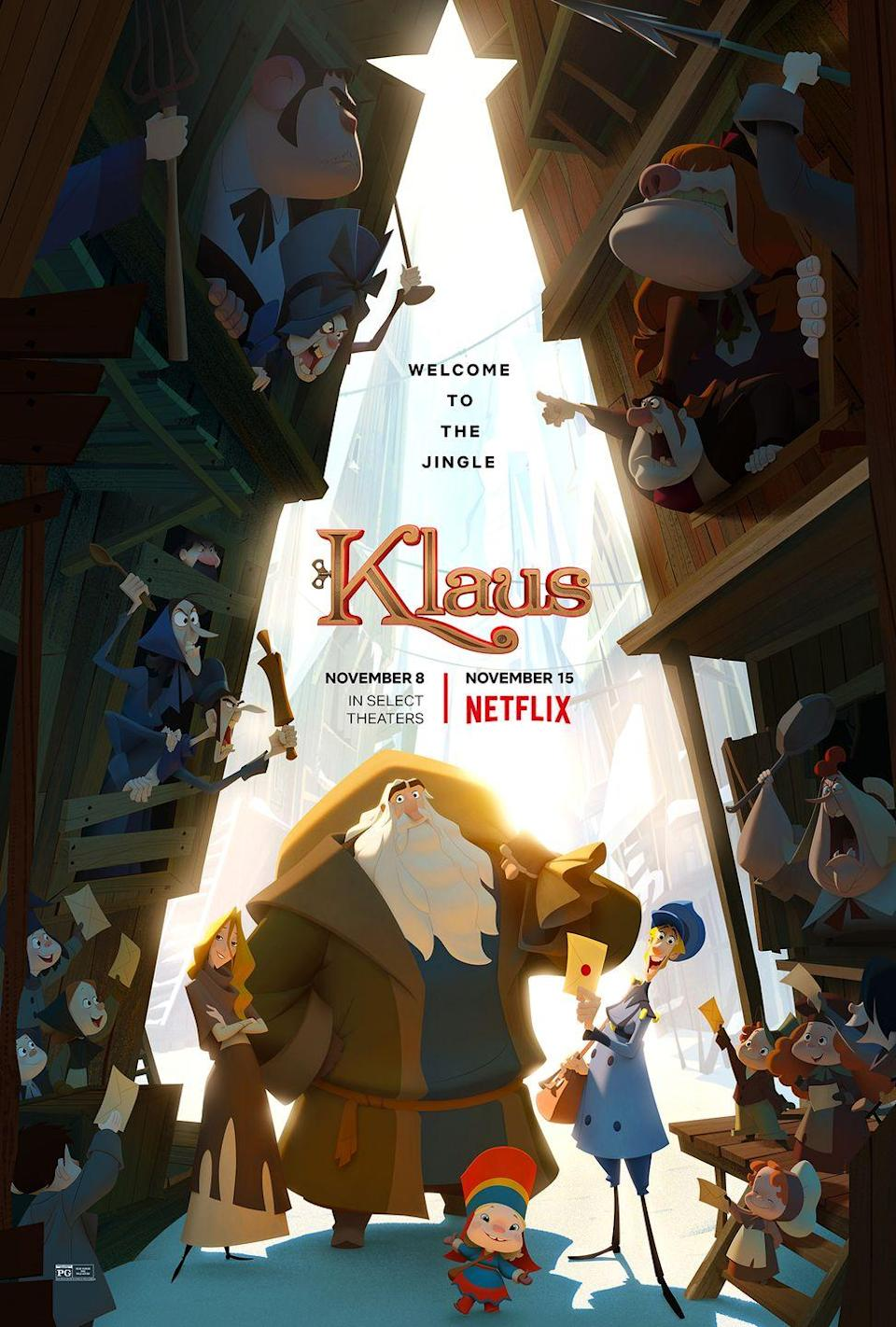"""<p>This Netflix original about a postman who befriends a reclusive toymaker makes for a great family Christmas film — especially with the beautiful animations that will leave you <em>really</em> feeling the holiday magic.  </p><p><a class=""""link rapid-noclick-resp"""" href=""""https://www.netflix.com/title/80183187"""" rel=""""nofollow noopener"""" target=""""_blank"""" data-ylk=""""slk:WATCH NOW"""">WATCH NOW</a> </p>"""