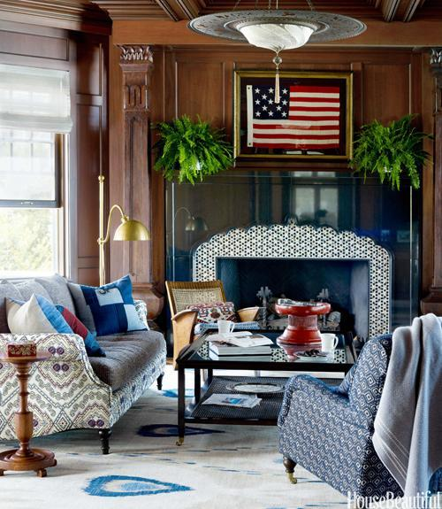 """<div class=""""caption-credit""""> Photo by: Francesco Lagnese</div><div class=""""caption-title"""">Americana-Inspired Library</div><p> A framed American flag hangs over the Atelier Jouvence black-granite mantel in the library of a Michigan lake house decorated by Martin Horner. The dark material offers a dramatic contrast to the tile, from Artistic Tile. </p> <p> <b>See more:</b> </p> <p> <a rel=""""nofollow noopener"""" href=""""http://www.housebeautiful.com/shopping/best/4th-of-july-entertaining-ideas?link=emb&dom=yah_life&src=syn&con=blog_housebeautiful&mag=hbu"""" target=""""_blank"""" data-ylk=""""slk:11 Chic Finds for 4th of July Party"""" class=""""link rapid-noclick-resp""""><b>11 Chic Finds for 4th of July Party</b></a> <br> <br> <a rel=""""nofollow noopener"""" href=""""http://www.housebeautiful.com/decorating/home-makeovers/summer-home-decorating-ideas?link=emb&dom=yah_life&src=syn&con=blog_housebeautiful&mag=hbu"""" target=""""_blank"""" data-ylk=""""slk:50+ Easy Summer Decorating Ideas"""" class=""""link rapid-noclick-resp""""><b>50+ Easy Summer Decorating Ideas</b></a> </p>"""