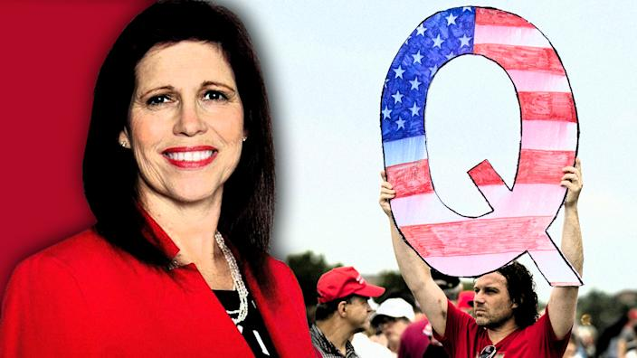 Jo Rae Perkins and Qanon. (Photo illustration: Yahoo News; photos: perkinsforussenate.vote, Matt Rourke/AP