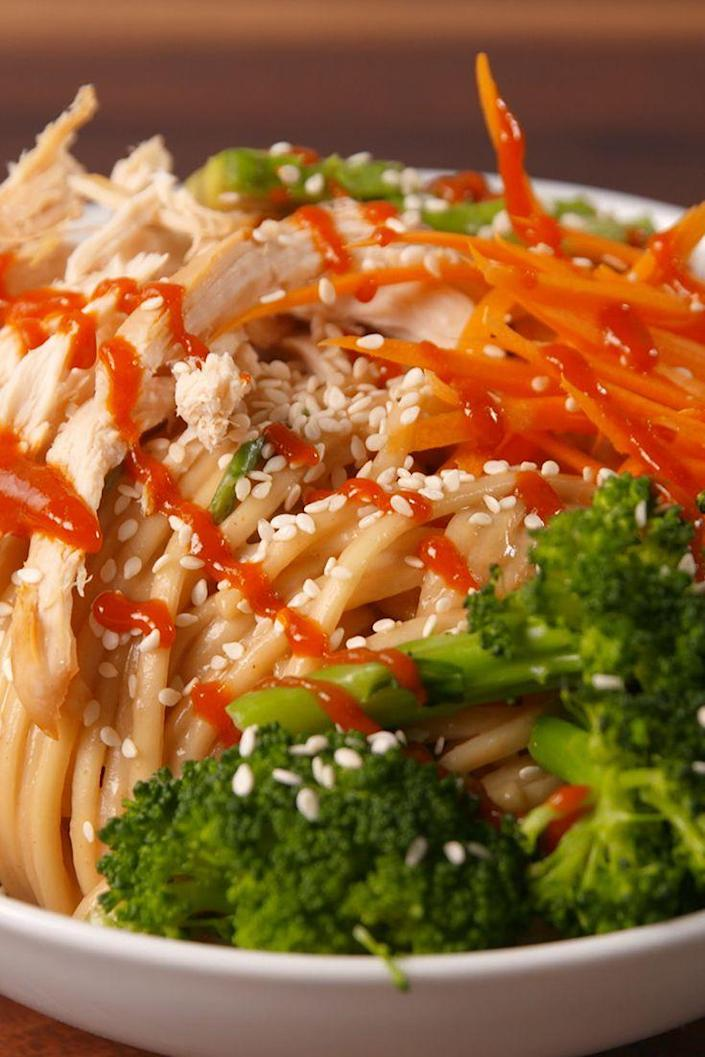 """<p>These noodles had us rubbing our bellies. 😊</p><p>Get the recipe from <a href=""""https://www.delish.com/cooking/recipe-ideas/recipes/a52185/buddha-noodles-recipe/"""" rel=""""nofollow noopener"""" target=""""_blank"""" data-ylk=""""slk:Delish"""" class=""""link rapid-noclick-resp"""">Delish</a>.</p>"""