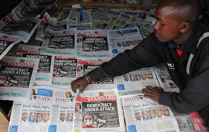 "Despite passing a new, liberal constitution in 2010, Kenya's government has since introduced ""a series of laws that undermine self-regulation and allow for harsh fines and jail terms for journalists"" (AFP Photo/Simon Maina)"