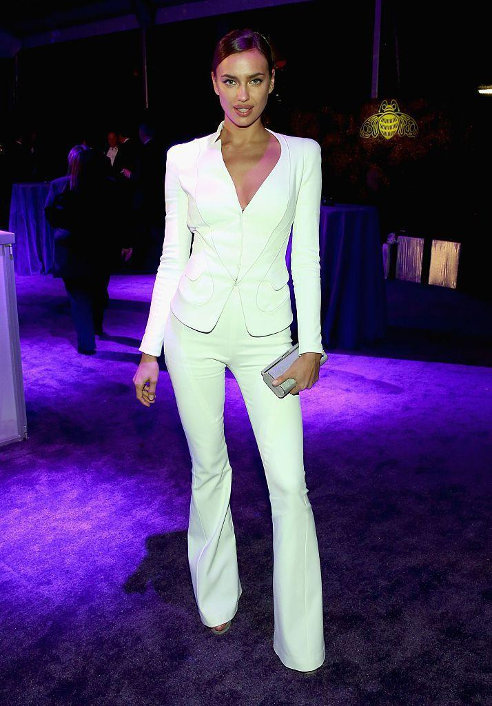 <p>The Russian model wore a white suit to the event. </p>