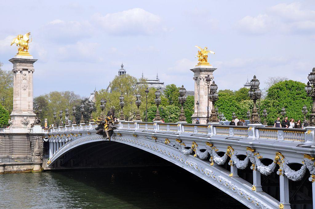 Pont Alexandre III, Paris, France: The Pont Alexandre III is the most extravagant and highly decorated bridge on the Seine. Built in 1900, Russia's Tsar Nicholas II laid the first brick at a time when France was courting Russia as an ally; it was named after the Tsar's father Alexander III.