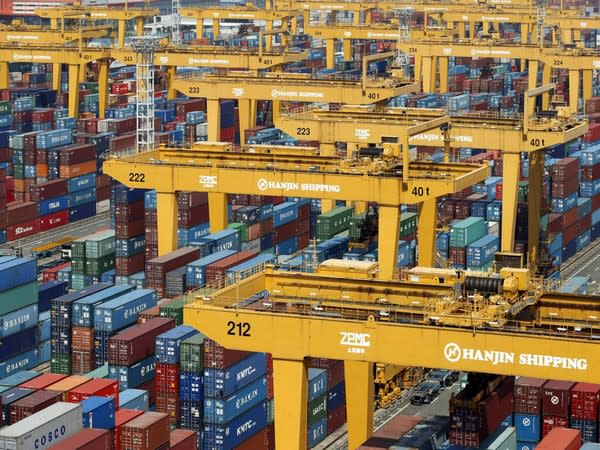 Hanjin Shipping's container terminal at Busan New Port. Photo/Reuters