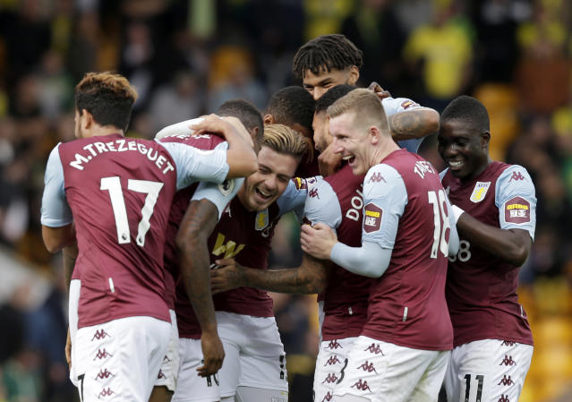 Aston Villa players celebrate. (Photo by Henry Browne/Getty Images)