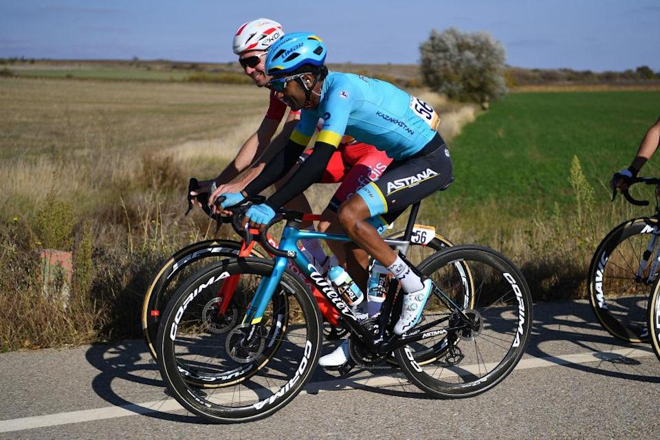 AGUILAR DE CAMPOO SPAIN  OCTOBER 29 PierreLuc Perichon of France and Team Cofidis Solutions Credits  Merhawi Kudus Ghebremedhin of Eritrea and Astana Pro Team  during the 75th Tour of Spain 2020 Stage 9 a 1577km stage from Cid Campeador Military Base Castrillo del Val to Aguilar de Campoo  lavuelta  LaVuelta20  on October 29 2020 in Aguilar de Campoo Spain Photo by Justin SetterfieldGetty Images