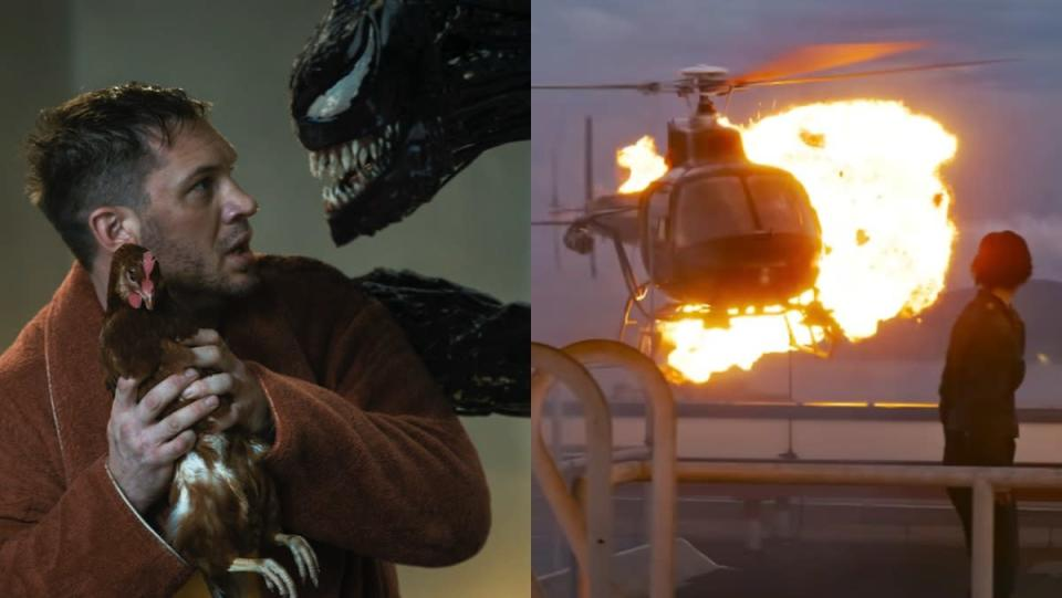 Tom Hardy as Eddie brock holds a chicken while talking to Venom next to a shot of a helicopter exploding in The Matrix Resurrections