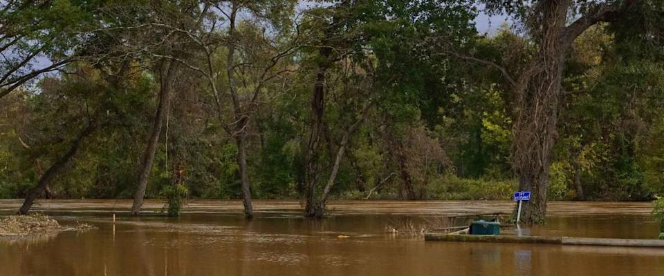 Flooded Appomattox River in Virginia After Storm Hurricane Harvey