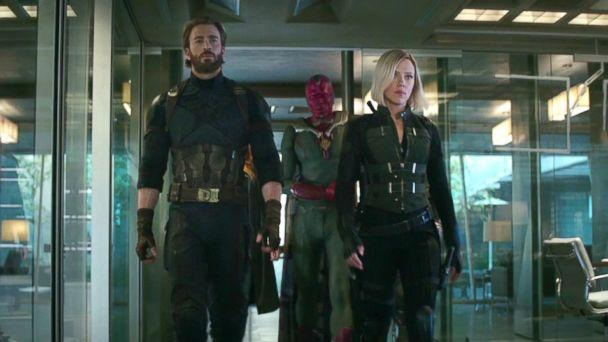 PHOTO: Paul Bettany, Chris Evans, and Scarlett Johansson in a scene from 'Avengers: Infinity War,' 2018. (IMDB)