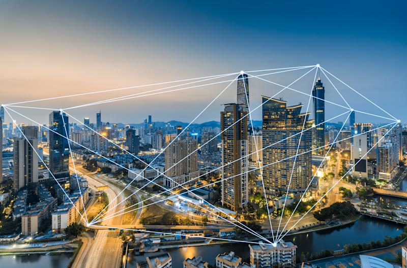 Network connections across the skyline of Shenzhen, China.
