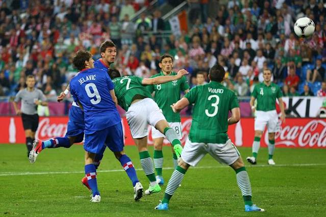 POZNAN, POLAND - JUNE 10: Mario Mandzukic of Croatia scores their third goal during the UEFA EURO 2012 group C between Ireland and Croatia at The Municipal Stadium on June 10, 2012 in Poznan, Poland. (Photo by Christof Koepsel/Getty Images)