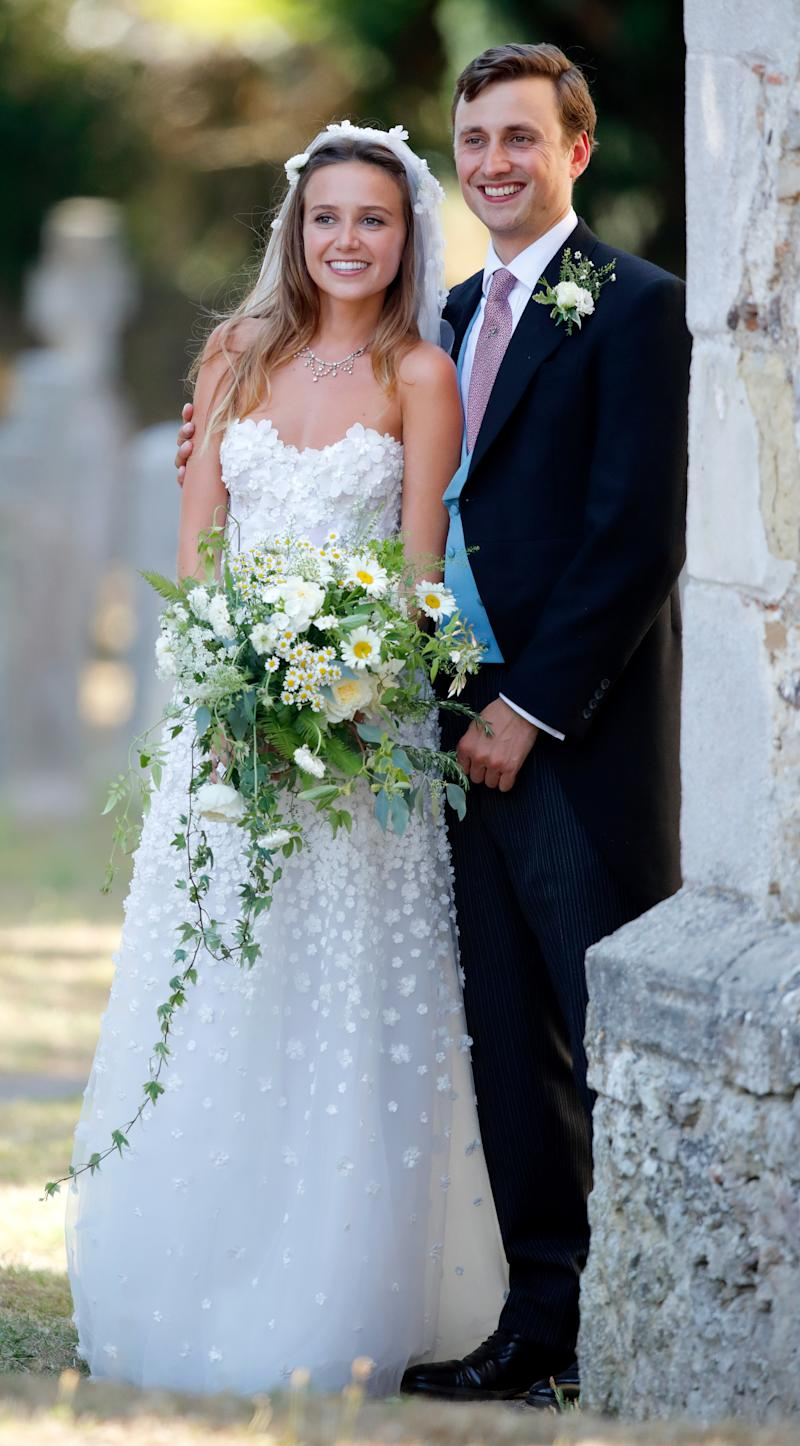 Daisy Jenks and Charlie van Straubenzee leave the church of St Mary the Virgin after their wedding on August 4, 2018 in Frensham, England.