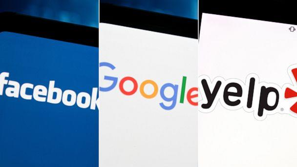PHOTO: In these file photos, a Facebook logo, a Google logo, and a Yelp logo are seen on smartphones. (Mateusz Slodkowski/SOPA Images via LightRocket via Getty Images   Mateusz Slodkowski/SOPA Images via LightRocket via Getty Images   Rafael Henrique/SOPA Images via LightRocket via Getty Images)