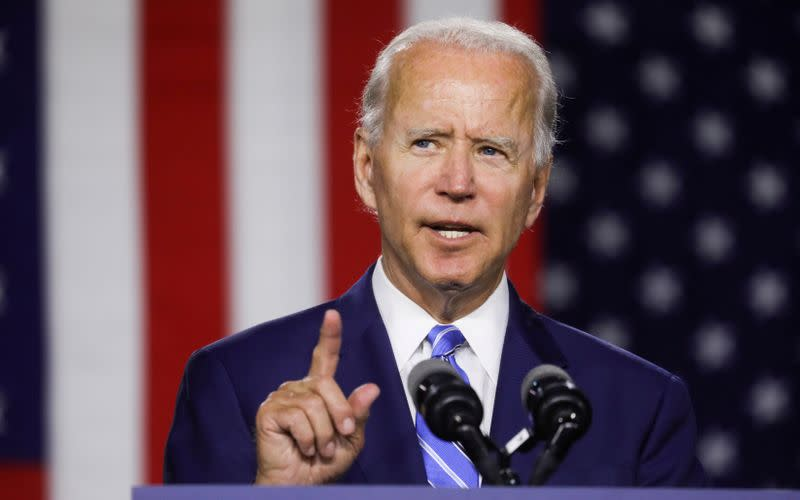 FILE PHOTO: Democratic U.S. presidential candidate Biden speaks at campaign event in Wilmington, Delaware
