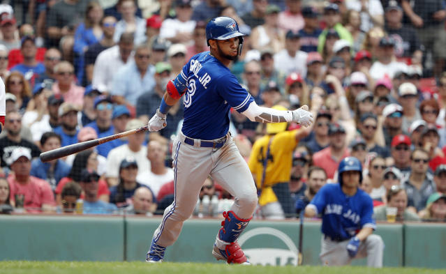 Toronto Blue Jays' Lourdes Gurriel Jr. watches his RBI single against the Boston Red Sox during the seventh inning of a baseball game Saturday, July 14, 2018, in Boston. (AP Photo/Winslow Townson)