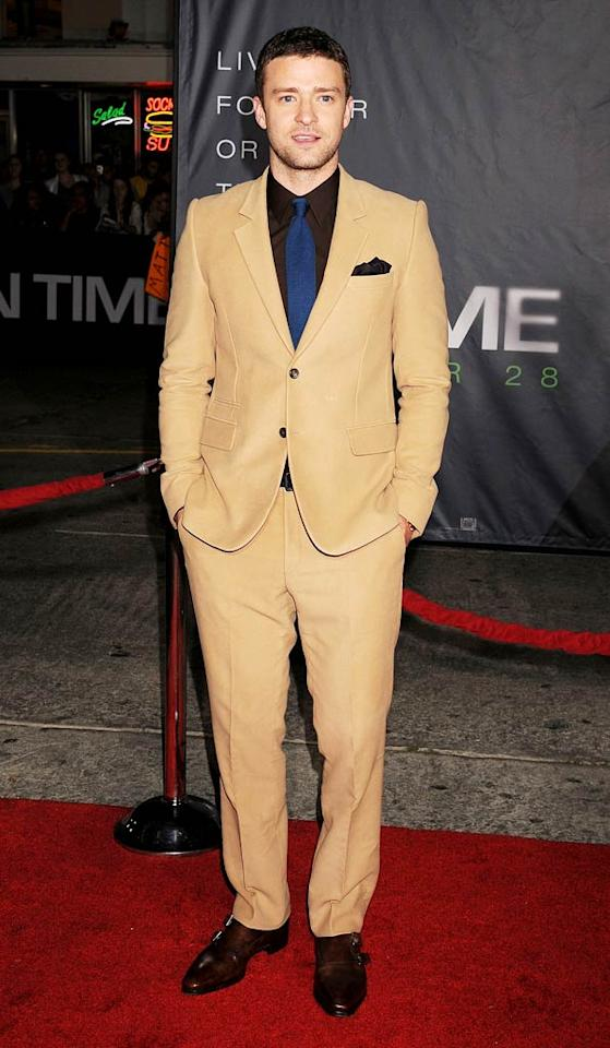 "And last but not least, we have Justin Timberlake. The former boybander arrived at the Los Angeles premiere of his new thriller, ""In Time,"" in a surprisingly awful ensemble, which consisted of a revolting, camel-colored suit, chocolate brown shirt, and royal blue tie. (10/20/11)"