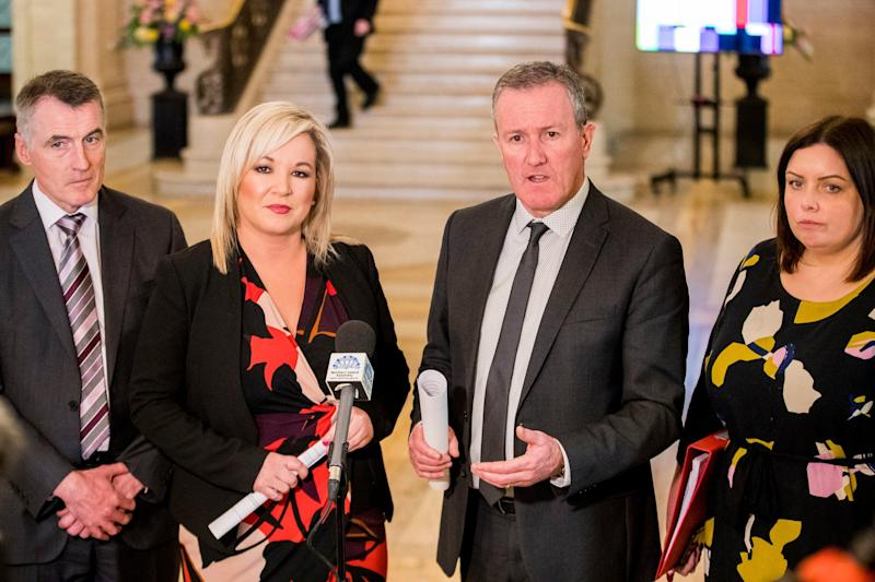 Finance Minister Conor Murphy of Sinn Fein with Deputy First Minister Michelle O'Neill and party colleagues Junior Minister Declan Kearney and Communities Minister Deirdre Hargey at the Great Hall in Stormont Buildings (PA)