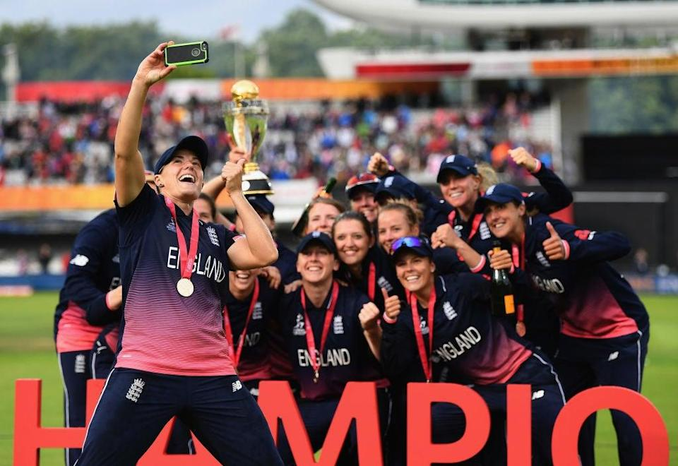 Katherine Brunt leads England's celebrations after winning the 2017 World Cup final (Getty)