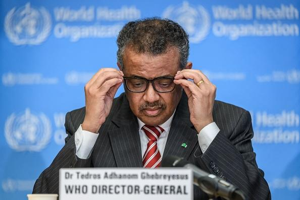 World Health Organisation (WHO) Director-General Tedros Adhanom Ghebreyesus attends a daily press briefing on COVID-19 virus at the WHO headquarters on in Geneva.