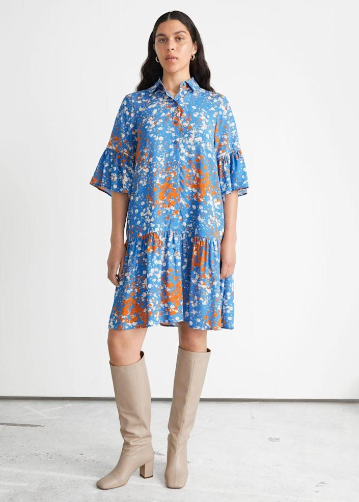 <p>This <span>&amp; Other Stories Buttoned Ruffle Midi Dress</span> ($99) is perfect for the office, and it'll stylishly and effortlessly transition into afterwork dinner plans. We love the bright print, relaxed A-line silhouette, and ruffled cuffs.</p>
