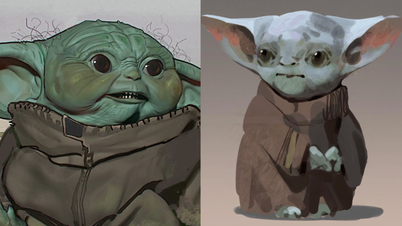 Concept art for Baby Yoda, shown in 'Disney Gallery: The Mandalorian'. (Credit: Disney+)