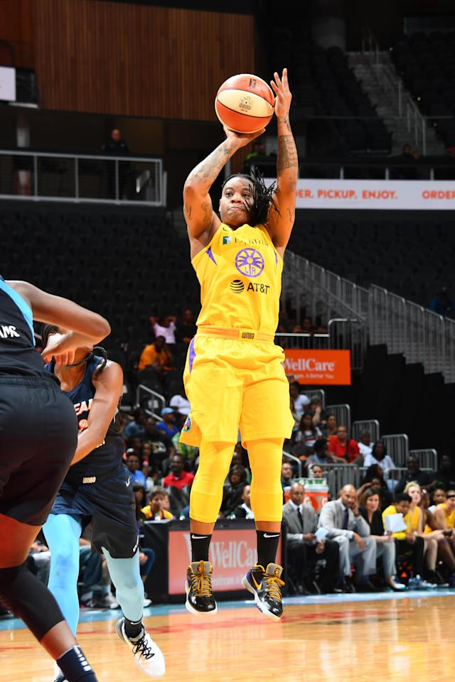 ATLANTA, GA - JULY 14: Riquna Williams #2 of the Los Angeles Sparks shoots the ball against the Indiana Fever on JULY 14, 2019 at the State Farm Arena in Atlanta, Georgia. (Photo by Scott Cunningham/NBAE via Getty Images)