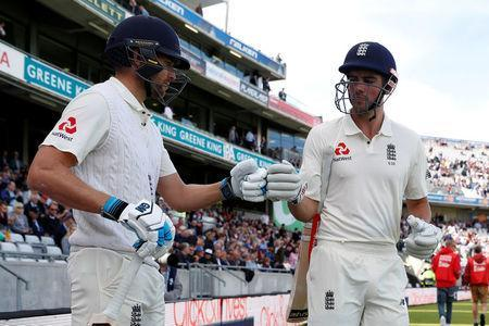 Cricket - England vs West Indies - First Test - Birmingham, Britain - August 18, 2017 England's Dawid Malan and Alastair Cook (R) Action Images via Reuters/Paul Childs
