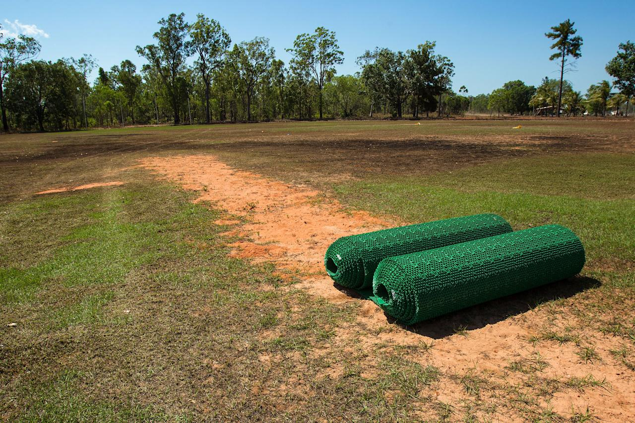 DARWIN, AUSTRALIA - AUGUST 10: Cricket mats are pictured on the local field during a visit to Pirlangimpi of the Tiwi Islands by the Australian cricket team on August 10, 2012 on the Tiwi Islands, Australia.  (Photo by Mark Nolan/Getty Images)