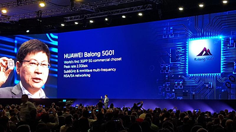 Huawei unveils first 5G chip in challenge to Qualcomm and Intel and says 5G phone coming this year