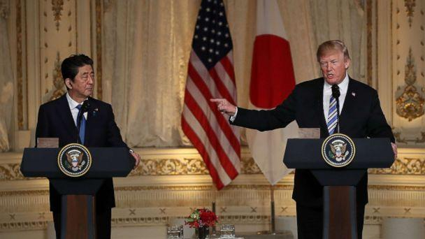 PHOTO: President Donald Trump and Japanese Prime Minister Shinzo Abe hold a news conference at Mar-a-Lago resort on April 18, 2018 in West Palm Beach, Fla. (Joe Raedle/Getty Images)
