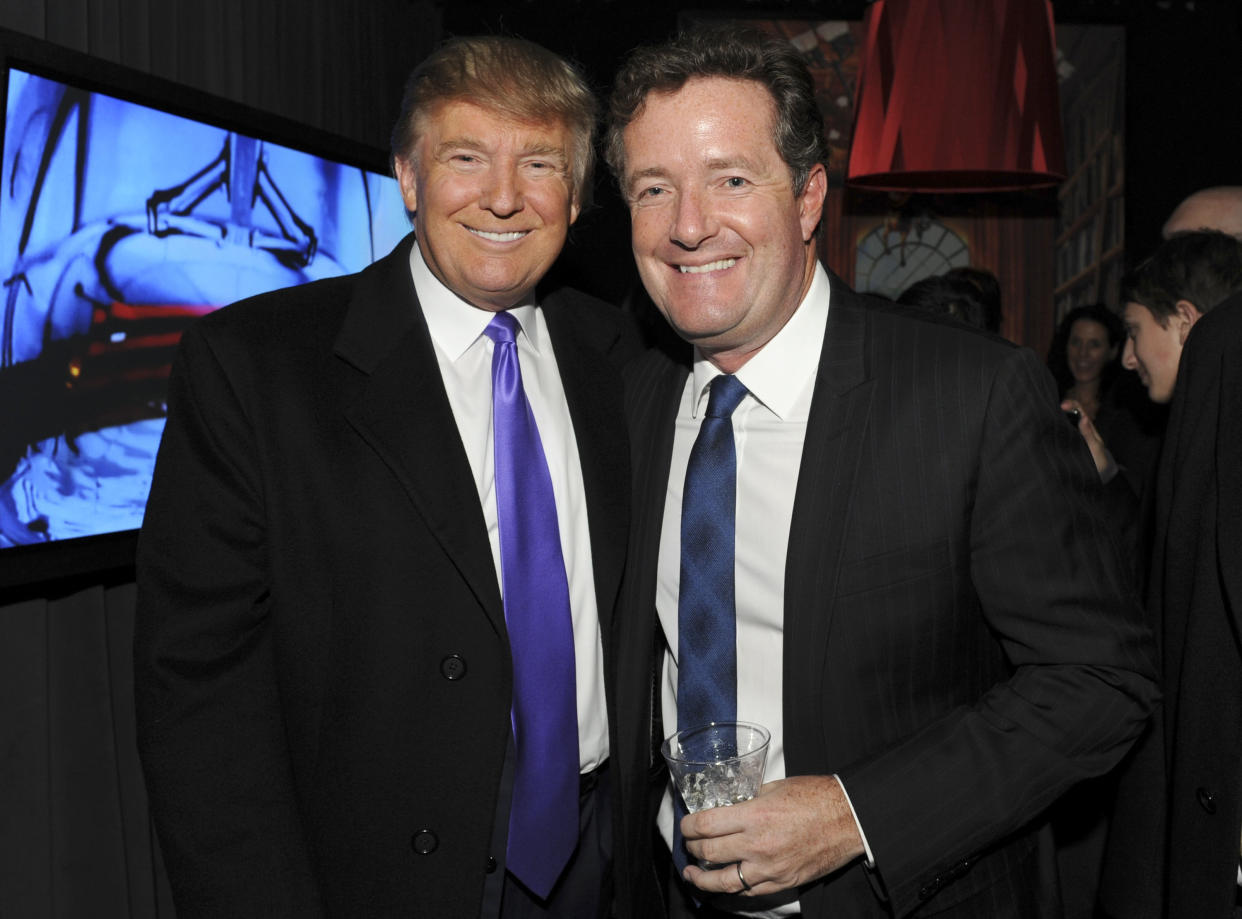 """NEW YORK - NOVEMBER 10: Television Personality Donald Trump and journalist Piers Morgan attend the celebration of Perfumania and Kim Kardashian�s appearance on NBC�s """"The Apprentice"""" at the Provocateur at The Hotel Gansevoort on November 10, 2010 in New York, New York.  (Photo by Mathew Imaging/WireImage)"""