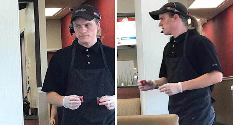 Albuquerque US Wendy's worker shows kind act of customer service to blind couple.