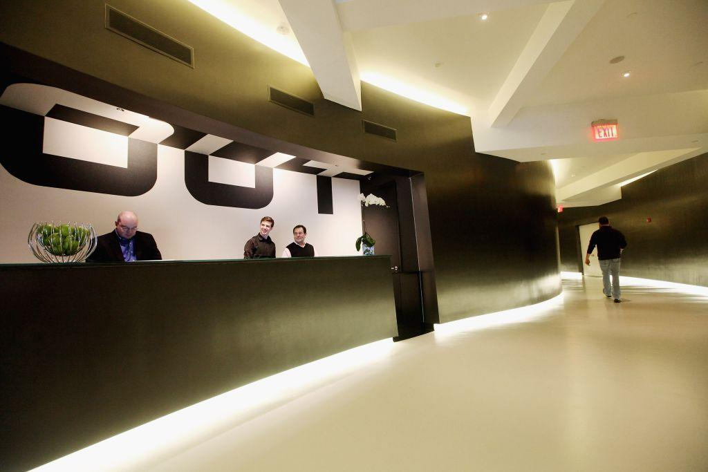 The reception area is seen at the gay resort hotel, THE OUT NYC, in midtown Manhattan. New York City's first gay hotel, the three-storey building is located in the gay-friendly neighbourhood of Hell's Kitchen.