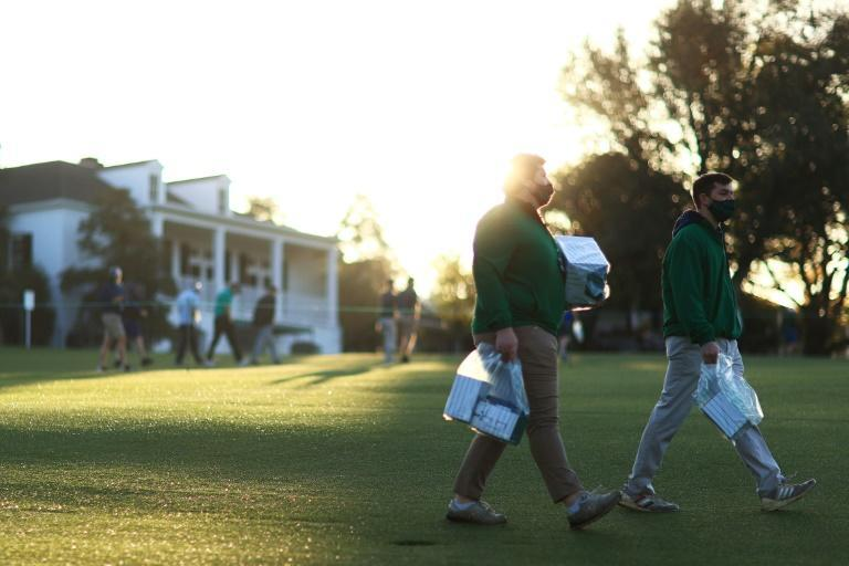 A limited number of spectators were allowed into Augusta National on Monday to watch Masters practice rounds