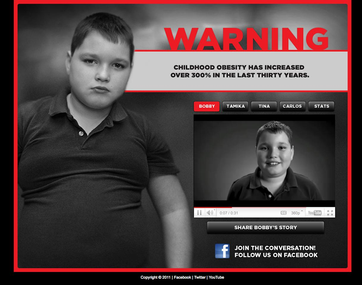 "This image made Thursday, April 21, 2011 shows a page from the website www.stopchildhoodobesity.com. The advertisement, part of a ""Stop Child Obesity"" campaign in Georgia, won some enthusiastic praise for their attention-grabbing tactics. But they also have outraged parents, activists and academics who feel the result is more stigma for an already beleaguered group of children. (AP Photo)"