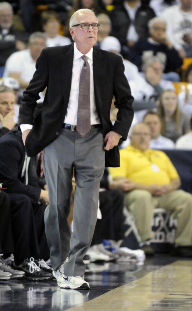 San Diego State head coach Steve Fisher watches his team play Utah State in the first half of an NCAA college basketball game Saturday, Jan. 25, 2014, in Logan, Utah. (AP Photo/Eli Lucero)