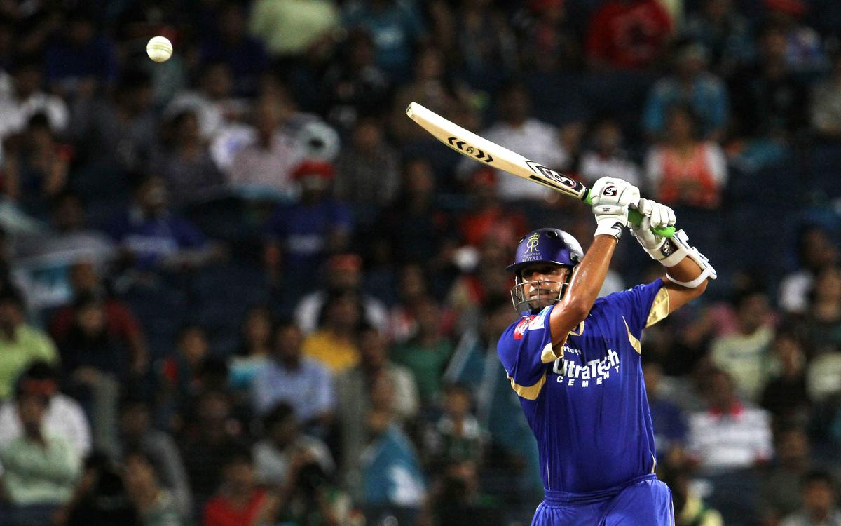Rajasthan Royals captain Rahul Dravid plays a shot during match 13 of the Pepsi Indian Premier League ( IPL) 2013  between The Pune Warriors India and the Rajasthan Royals held at the Subrata Roy Sahara Stadium, Pune on the 11th April  2013..Photo by Vipin Pawar-IPL-SPORTZPICS ..Use of this image is subject to the terms and conditions as outlined by the BCCI. These terms can be found by following this link:..https://ec.yimg.com/ec?url=http%3a%2f%2fwww.sportzpics.co.za%2fimage%2fI0000SoRagM2cIEc&t=1496144304&sig=4aUeQg3flxMTVRg1XfzXkA--~C