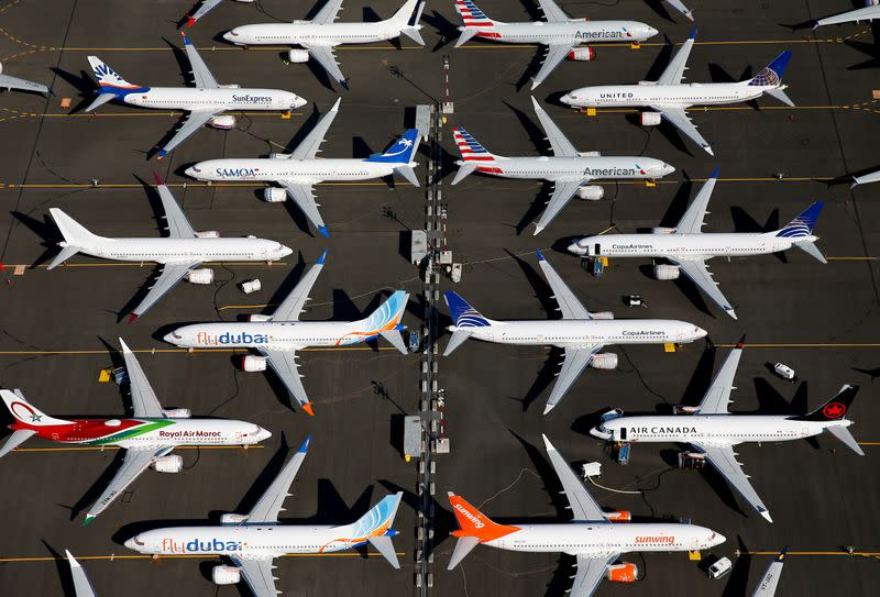 Grounded Boeing 737 MAX aircraft are parked at Boeing Field in Seattle