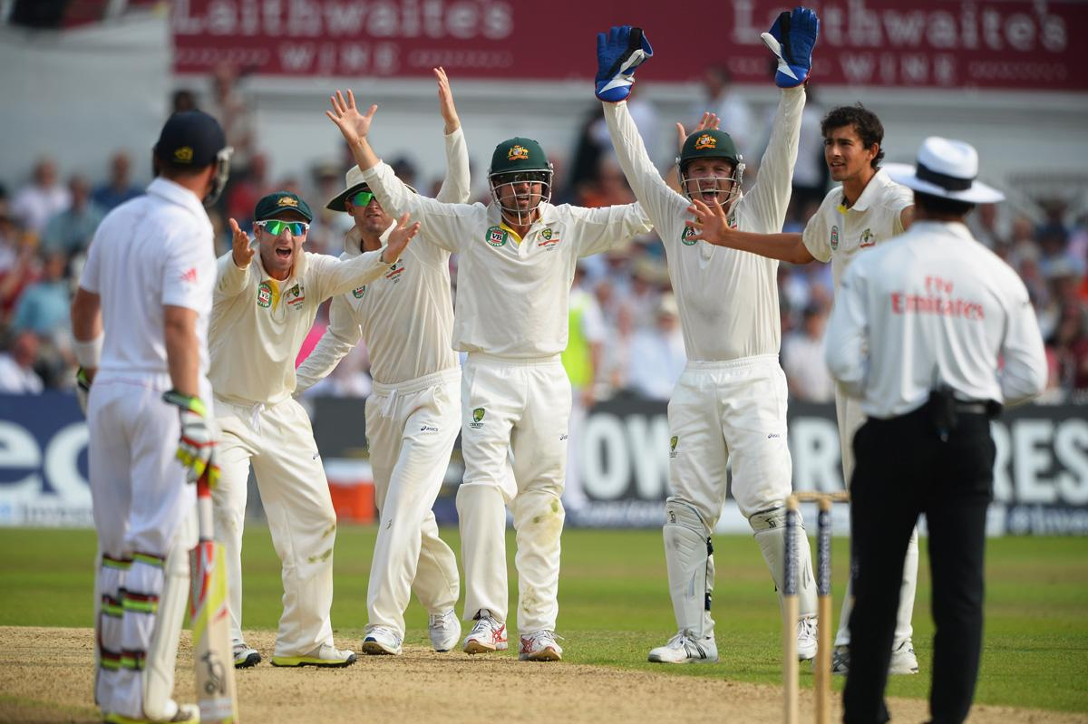 NOTTINGHAM, ENGLAND - JULY 12:  (L-R) Phil Hughes, Michael Clarke, Ed Cowan, wicketkeeper Brad Haddin and Ashton Agar of Australia appeal unsuccessfully for the wicket of Stuart Broad of England during day three of the 1st Investec Ashes Test match between England and Australia at Trent Bridge Cricket Ground on July 12, 2013 in Nottingham, England.  (Photo by Laurence Griffiths/Getty Images)