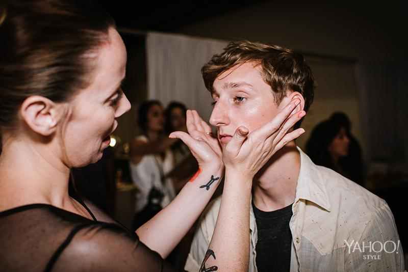 Prepping the skin before getting glammed up backstage.