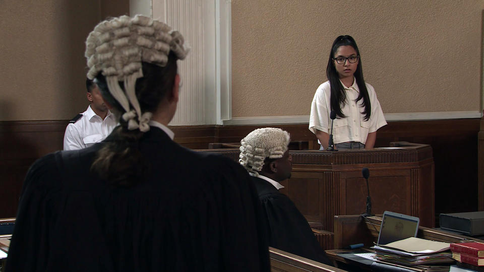 FROM ITV  STRICT EMBARGO - No Use Before Tuesday 24th August 2021  Coronation Street - Ep 10419  Wednesday 1st September 2021 - 2nd Ep  Asha Alahan [TANISHA GOREY] enters the witness box and tells how Corey bullied her and forced her to lie to the police. When Sabeen questions if sheÕs still in love with Nina Lucas [MOLLIE GALLAGHER], what will she say?   Picture contact David.crook@itv.com   This photograph is (C) ITV Plc and can only be reproduced for editorial purposes directly in connection with the programme or event mentioned above, or ITV plc. Once made available by ITV plc Picture Desk, this photograph can be reproduced once only up until the transmission [TX] date and no reproduction fee will be charged. Any subsequent usage may incur a fee. This photograph must not be manipulated [excluding basic cropping] in a manner which alters the visual appearance of the person photographed deemed detrimental or inappropriate by ITV plc Picture Desk. This photograph must not be syndicated to any other company, publication or website, or permanently archived, without the express written permission of ITV Picture Desk. Full Terms and conditions are available on  www.itv.com/presscentre/itvpictures/termsFROM ITV  STRICT EMBARGO - No Use Before Tuesday 24th August 2021  Coronation Street - Ep 10419  Wednesday 1st September 2021 - 2nd Ep  Asha Alahan [TANISHA GOREY] enters the witness box and tells how Corey bullied her and forced her to lie to the police. When Sabeen questions if sheÕs still in love with Nina Lucas [MOLLIE GALLAGHER], what will she say?   Picture contact David.crook@itv.com   This photograph is (C) ITV Plc and can only be reproduced for editorial purposes directly in connection with the programme or event mentioned above, or ITV plc. Once made available by ITV plc Picture Desk, this photograph can be reproduced once only up until the transmission [TX] date and no reproduction fee will be charged. Any subsequent usage may incur a fee. This photograph must 