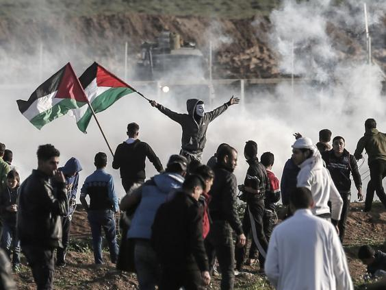 Gaza border protest on 8 February (Mahmud Hams / AFP / Getty Images)