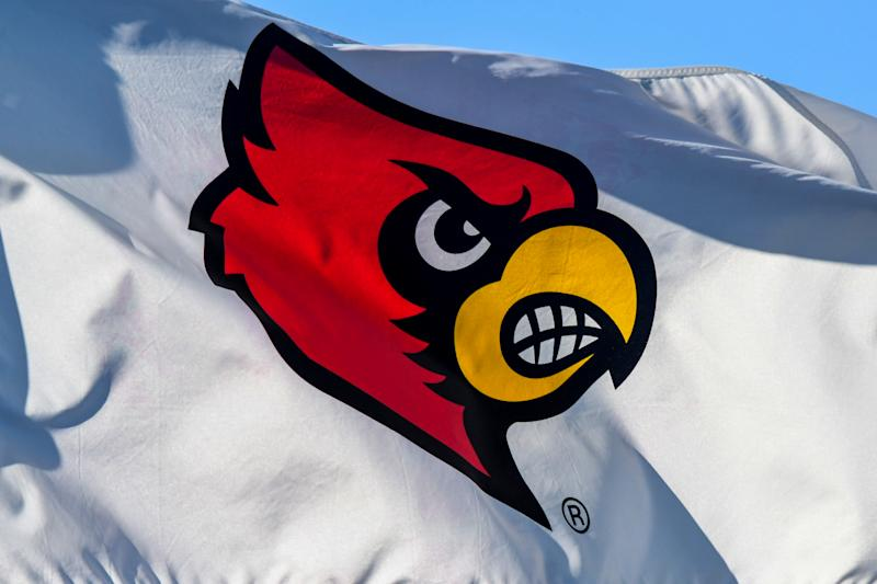 CARY, NC - NOVEMBER 11: A flag waves in the wind displaying the Louisville Cardinals logo during the ACC Men's Soccer Championship between the North Carolina Tar Heels and the Louisville Cardinals on November 11, 2018 at WakeMed Soccer Park in Raleigh, NC. (Photo by William Howard/Icon Sportswire via Getty Images)