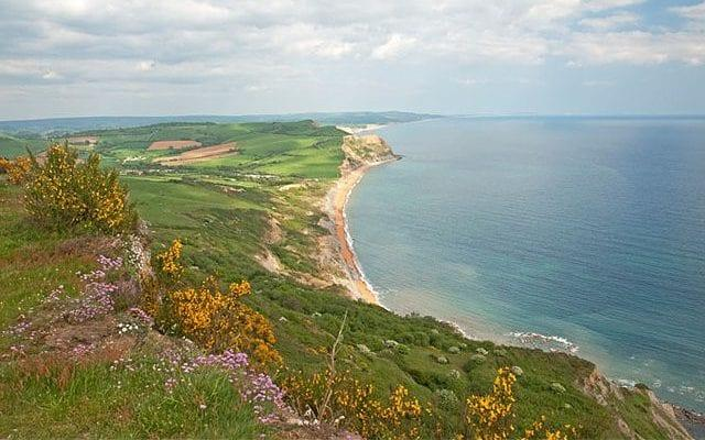 View from top of Golden Cap looking south east over Lyme Bay near Bridport Dorset southern England UK - Credit: Martin Cooke/Alamy