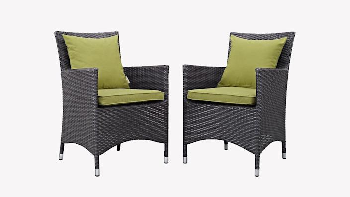This rattan chair set is just what your patio needs.