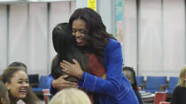 """This image released by Netflix shows former first lady Michelle Obama in a scene from """"Becoming."""" (Netflix via AP)"""