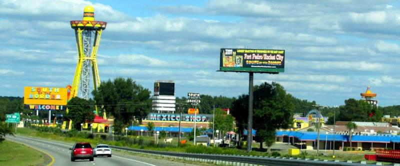 South of the Border tourist attraction on Interstate 95 in South Carolina just over the state line from North Carolina